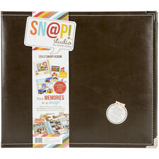 Simple Stories SNAP Studio Collection 12 x 12 Faux Leather Album Brown
