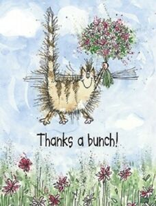"""LEANIN TREE """"Thanks a Bunch!""""~Jumping Cat with Flowers~Pack 8 Notecards #35999~"""