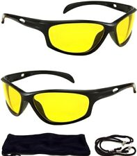 SPORT WRAP HD NIGHT DRIVING VISION SUNGLASSES YELLOW HIGH DEFINITION GLASSES