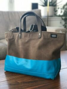 Jack Spade Dipped Industrial Canvas Coal Tote Bag w/ Shoulder Strap Brown Blue