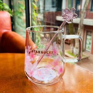 2021 Starbucks Pink Sakura Color-changing Glass Coffee Mug Cups W/ Rod&Coaster