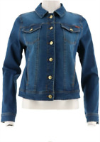Isaac Mizrahi Live! TRUE DENIM Jean Jacket,Medium Indigo, Size 28W, NEW A306370