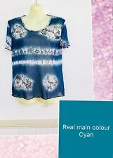 Yarra Trail Au L Blue Cyan Grey Floral Top