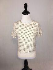 H&M 100% Silk Beige Polka Dot Short Sleeve Shirt / Size 2 XS Small S