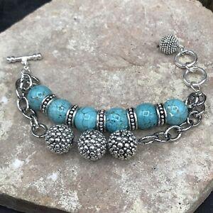 Barse Serendipity Toggle Bracelet- Turquoise Magnesite & Silver Overlay- NWT