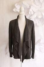 Ann Taylor LOFT Open Front Draped Cardigan Sweater Sz L|Petite Merino Wool Brown