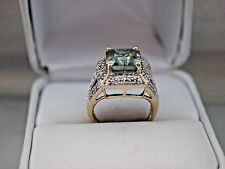 Antique Russian Style engagement 14k Yellow Gold 4.12Ct Light Green Diamond Ring
