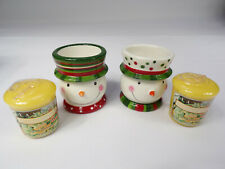 """Yankee Candle Snowman Pair With Scented Christmas Votive Candle 3"""" Tall"""