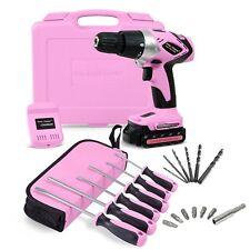Pink Power PP181LI 18 Volt Lithium-Ion Cordless Electric Drill Kit & 6 Piece Set