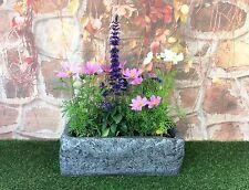Garden Trough Grey Stone Effect Planter 58cm / flower pot herb stone look patio