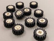 Bulk Lot Lego Part No.4624c02: White Wheel 8mm D. x 6mm with Black Tyre, Qty x12