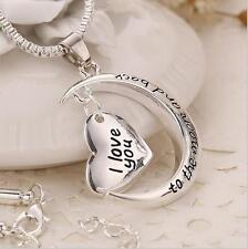 I LOVE YOU TO THE MOON AND BACK HEART NECKLACE SILVER XMAS GIFT FOR HER WIFE /U