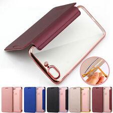 Custodia Flip pelle libro protettivo TPU trasparente Case Cover per iPhone 7 8 X