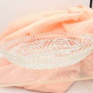 Stars & Bars Clear 2-Part Relish Tray Anchor Hocking USA Vintage EAPG