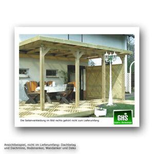 Überdachung 7x4 m, Anbau-Terrassenüberdachung Holzkonstruktion
