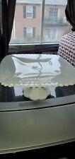 VINTAGE WHITE MILK GLASS SQUARE CAKE STAND (ESTATE)