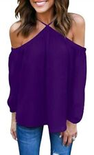 Women's Spaghetti Halter Off The Shoulder Blouse Long Sleeve Shirt Top Purple S