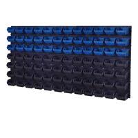 92 teiliges SET Lagersichtboxenwand Stapelboxen Werkzeugwand Blau Schwarz