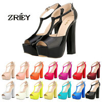 ZriEy Ladies Open Toe High Heels Platform Ankle Strappy Sandal Party Wedge Shoes