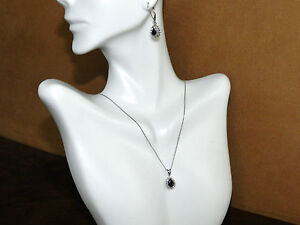 14k Solid White Gold Set Earrings Necklace Diamond 0.90CT & Sapphire 1.65CT