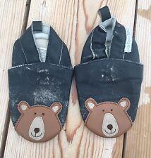 JoJo Maman Bebe Bleu Ours en cuir souple Bébé Chaussons Chaussures 12-18 mois
