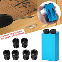 Pocket Hole Jig Kit 15° Angle 6/8/10mm Adapter Drill Guide Woodworking Set Tool
