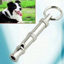 Pet Dog Training Adjustable Ultrasonic Sound Silver Metal Whistle Keychain Pitch