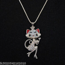 Womens Sexy Cat Crystal Pendant Long Sweater Chain Rose Gold Plated Necklace