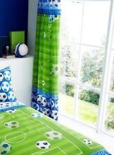 "Football Shoot Goal Kids Boys Bedroom Curtains Set 66"" X 72"" 183cm Blue & Green"