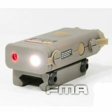 AIRSOFT PEQ10 RED LASER LIGHT LED TORCH FLASHLIGHT RIS 20mm RAIL TAN DE UK