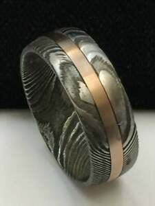 Damascus Twist Steel Rose Tungsten Mens Wedding Band Twist