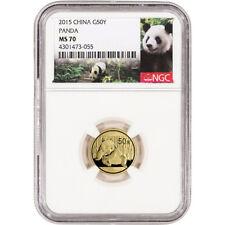 2015 China Gold Panda (1/10 oz) 50 Yuan - NGC MS70 - Panda Label