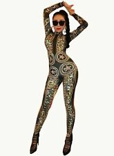 Gold Spandex Printed Stretch Rhinestones  Stars Jumpsuit Sexy Bodysuit Costume