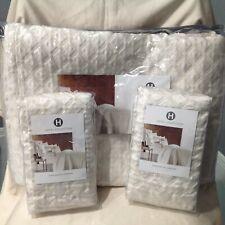 Hotel Collection Luxe Border 3Pcs Coverlet and Two Sham Ivory Retail $575