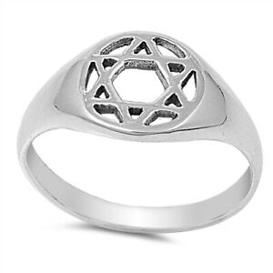 Star Of David Plain Ring Genuine Sterling Silver 925 Face Height 10 mm Size 10