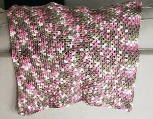 Pink Camo Granny Square Crochet Baby Blanket, Baby Shower Gift,Soft Baby Blanket