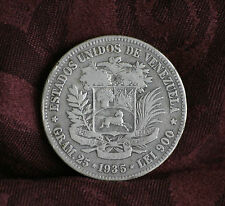1935 5 Bolivares Venezuela Large Silver dollar size World Coin Y24.2  25 grams