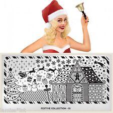 MoYou London FESTIVE 1 Collection Stamping Schablone, Weihnachten Schneeflocke