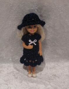 """Made to fit 5½"""" CHELSEA #05 Handmade Clothes, Crochet Dress & Hat Set"""