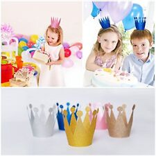 10 X Kids Children Birthday Party Paper Glitter Crowns Hat Set Decoration