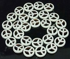 15mm White Turquoise Peace Sign Filigree Beads 16""