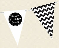 PERSONALISED BIRTHDAY BUNTING - CHEVRON BANNER DECORATION MENS/BOYS RETRO/MODERN