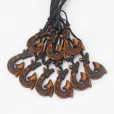 Wholesale Lot 12pcs Brown Tribal Maori Fish Hook Pendant Necklace