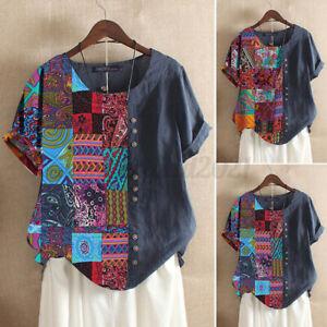 ZANZEA Womens Short Sleeve Patchwork Tops Tunic Blouse Casual Loose Print Shirts