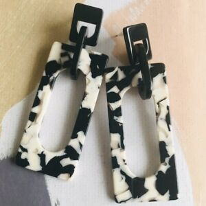 Monochrome fashion Statement Earrings with Gift Box Jewellery her vintage vibes