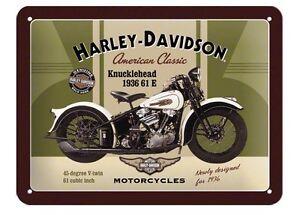 Insegna metallo targa Harley Davidson Knucklehead in rilievo 20 x 15 cm regalo