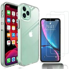 For iPhone 12/Pro/Max/12 Phone Case Clear Slim Cover With Glass Screen Protector