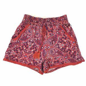 Knox Rose Drawstring Shorts Women Red Paisley Pockets Elastic Waist Rayon Casual
