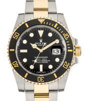 Rolex Submariner Date 18k Gold Steel Ceramic Black Watch Box/Papers V 116613