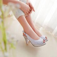 Vintage Womens Slingbacks Peep Toe Lace Wedding Party Shoes Slip On Sandals Size